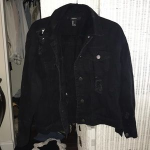Forever 21 black ripped jean jacket